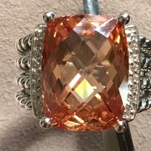 David Y 16x12mm Morganite Diamond Ring Sz 7.5